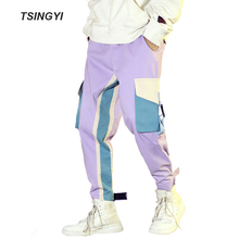 Tsingyi Autumn Spliced Multi Pockets joggers Cargo Pants Men Streetewar Hip Hop Ins Fashion Drawstring Tactical pantalon hombre multi pockets drawstring cuff camo cargo pants