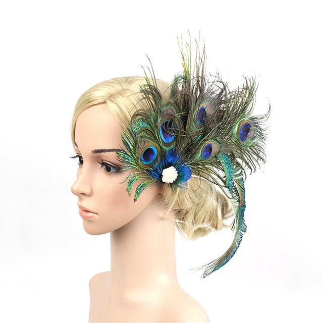 1f803c1780f17 Women Peacock Feather Hair Clip 1920s Headpiece Bridal Wedding Party  Hairwear Vintage Feather Headwear Hairgrips Hair Accessory