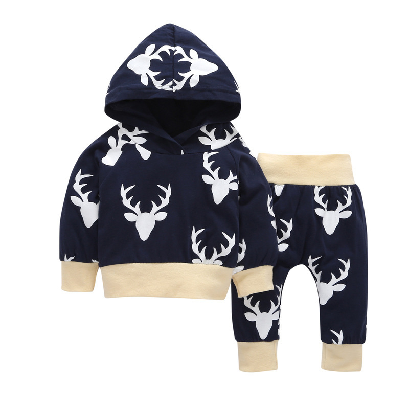 New Style Baby Boy Girl Clothes Long Sleeved hooded hoodies +Antlers print pants Childrens Outfits Kids Bebes Jogging Suits