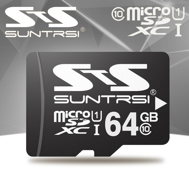 Suntrsi Black Micro SD High Speed XC/HC Memory Card 64gb 32gb 16gb Micro sd Card Class 10 Flash Card Microsd mini Gift
