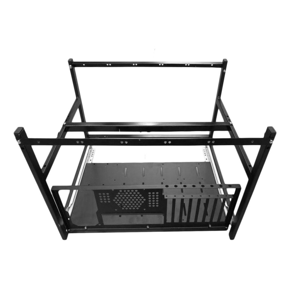 Professional Aluminum Steel Coin Open Air Mining Miner Frame Rig Case Suitable For 6 GPU4 Fans BTC LTC ETH Ethereum steel coin open air miner mining frame rig case up to 8 gpu graphics card btc ltc eth ethereum for miner bitcoin bitman pc case