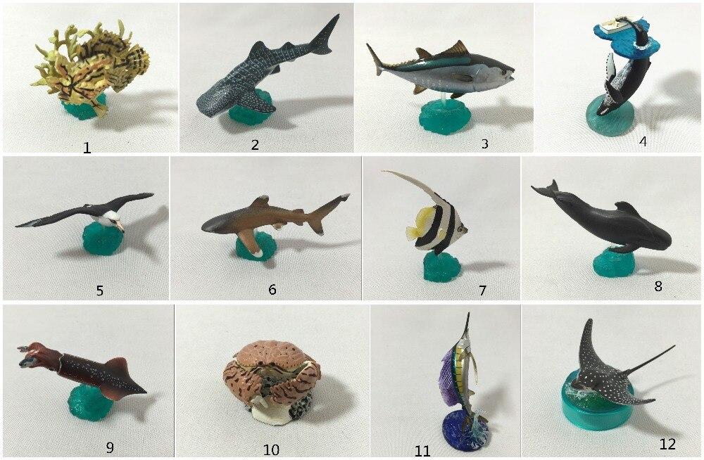 mini  pvc figure   Marine life seagull coral fish mackerel shark Stingray model  12pcs/set