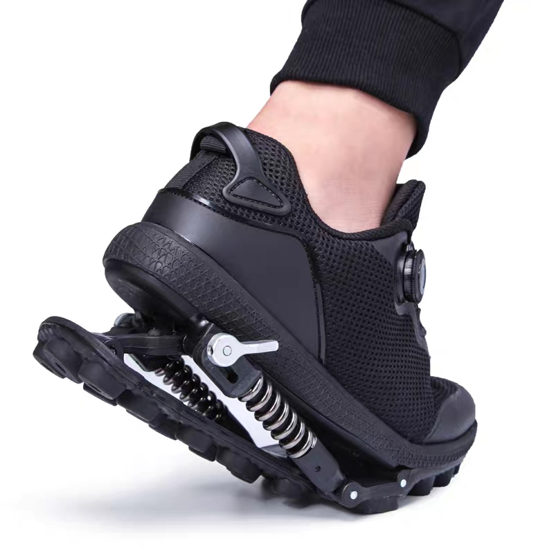 Mechanical Shoes With Steel Spring Wire Shoelace, 2 In 1 Sports Shoes, Shock Absorption Shoes