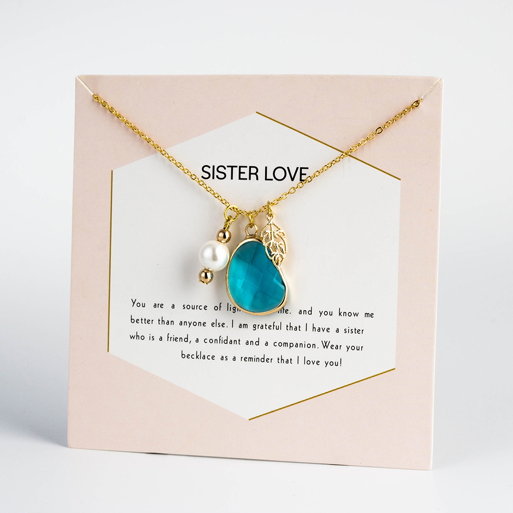 MEIBEADS Necklaces Wish-Card Pearl Charms Birthstone Clavicular-Chain Gift Sister Love-Jewelry