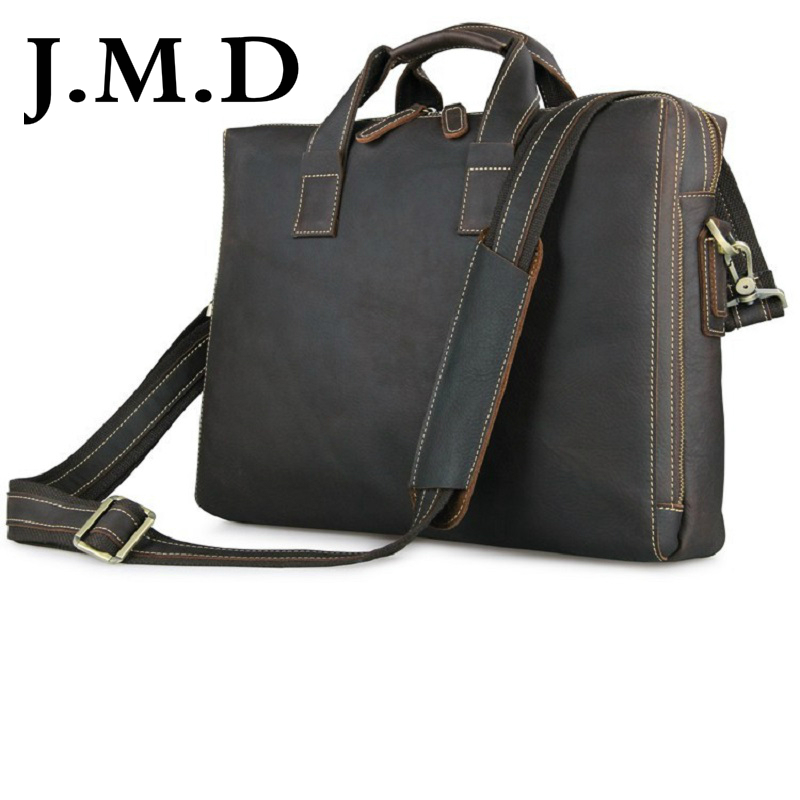 J.M.D 2017 New High Quality 100% Real Leather Freeship Men Briefcases Messenger Bag Laptop Bags Hand Bag 7167C