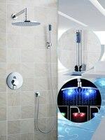Ouboni Shower Set Torneira LED Light 10 Inch Shower Head Bathroom Rainfall 50246 42B Bath Tub