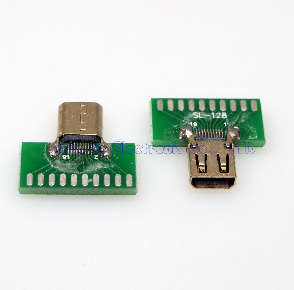 10pcs/lot Micro HDMI connector female D TYPE tester with PCB board HDMI Jack with PCB board
