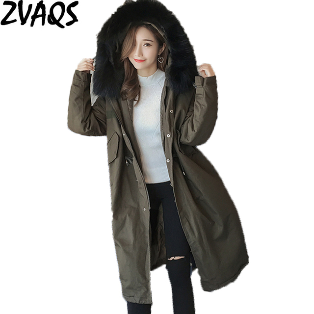 9b443868c24 ZVAQS New 2018 Winter Jacket Women Loose Coat Large Faux Fur Collar Female  Parka Army Green Thick Cotton Padded Lady Coats ST269. 1 order