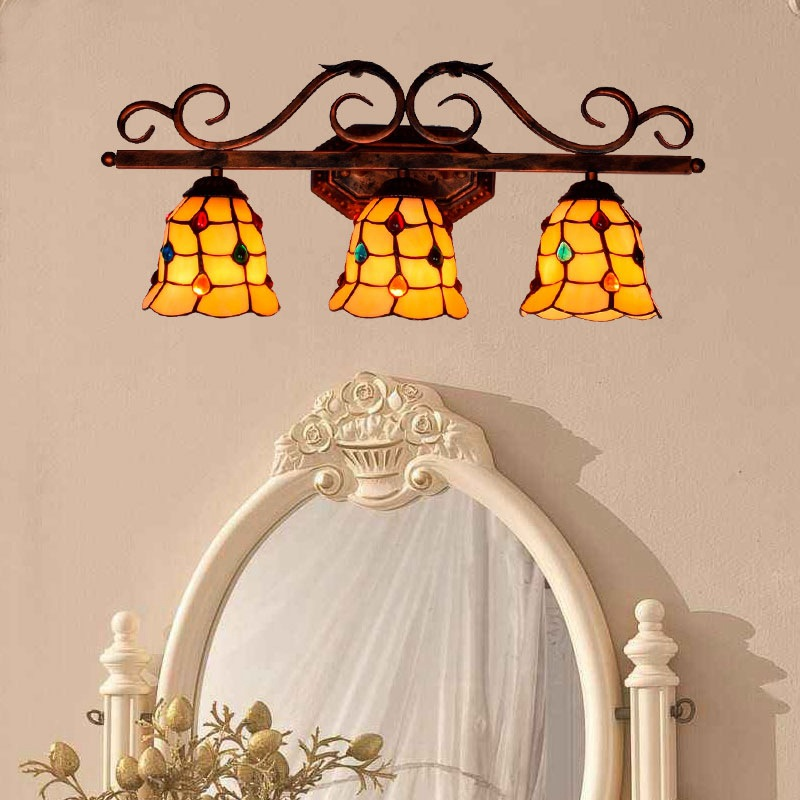 hotel restaurant bar tiffany art glass decorative wall lamp european colored beads glass lampshade three head - Glass Front Hotel Decoration