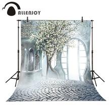 Allenjoy Romantique de mariage Arbre de fond Brumeux Jardin Porte photo studio toile de fond vinyle tissu photographie milieux