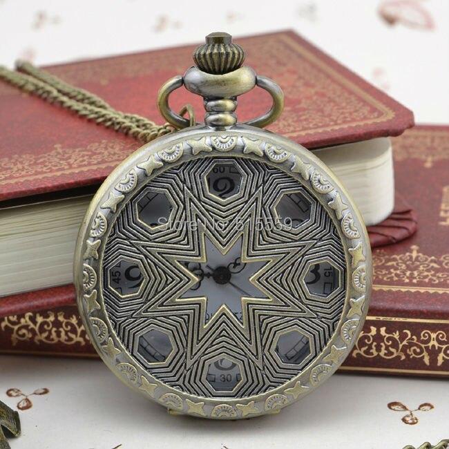 e7118fc41f7 ᗕBronze oco relógio de bolso colar relógio - a589