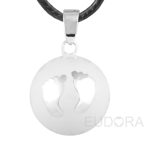 6N14NB163 6PCS/lot White bola belly footprint pendant pregnancy chime necklace angel caller wholesales