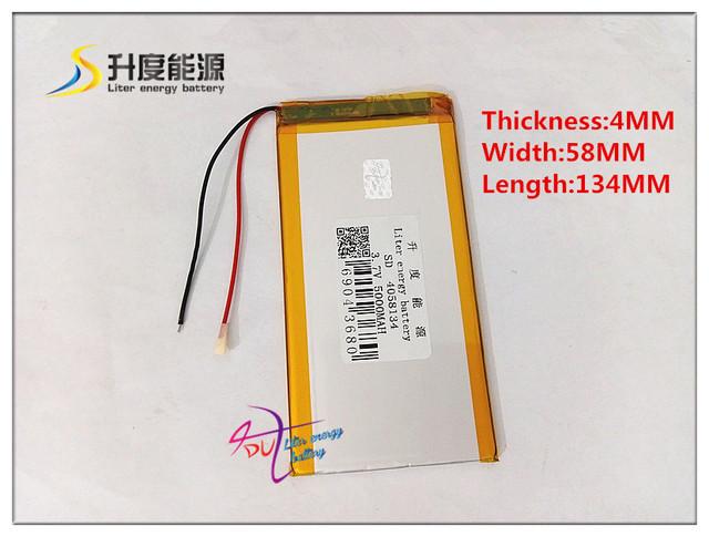 3.7 V 5000 mAH 4058134 bateria de polímero de iões de lítio/bateria Li-ion para BANCO DE POTÊNCIA tablet pc e-book speaker