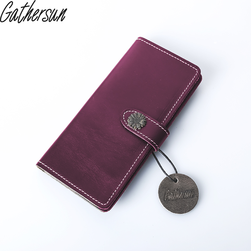 Gathersun Brand Handmade High Quality Real Genuine Leather Wallet Bifold Vintage Crazy Horse Leather Card Holder Coin Purse gathersun the secret life of walter mitty retro wallet handmade custom vintage genuine wallet crazy horse leather men s purse