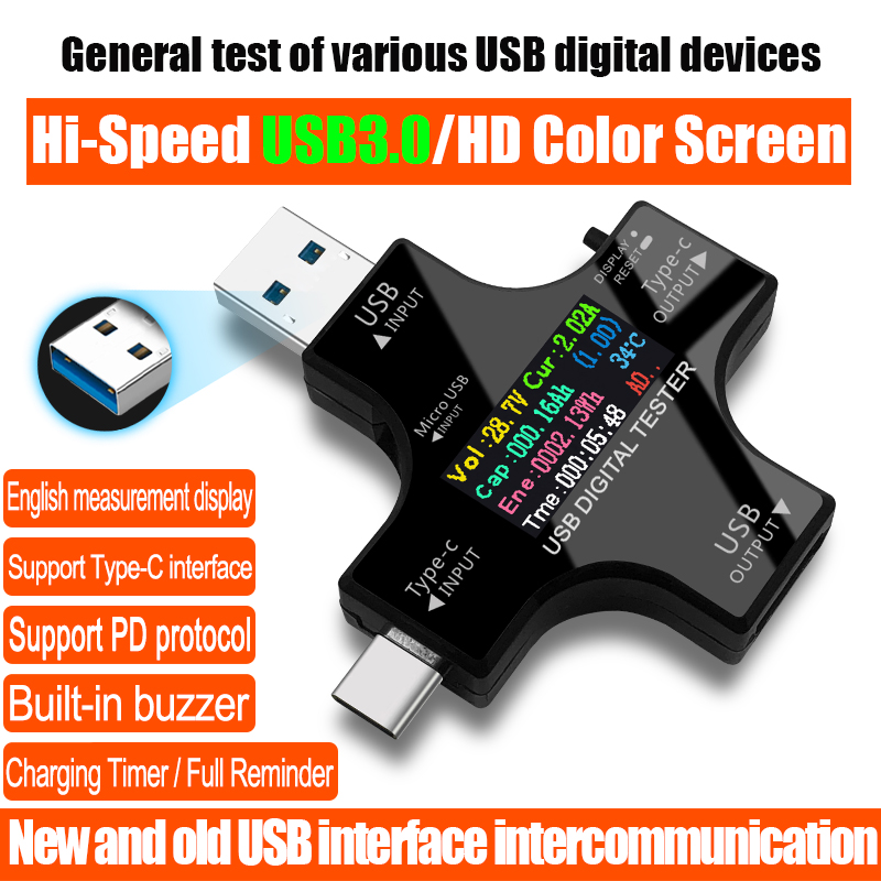 USB 3.0 Type-C USB tester DC Digital voltmeter amperimetor voltage current meter ammeter detector power bank charger indicator usb current voltage tester usb voltmeter ammeter detector double row show 25