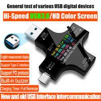 USB 3,0 tipo-C USB de DC voltímetro Digital amperimetor medidor de corriente de voltaje amperímetro de cargador tipo batería externa indicador