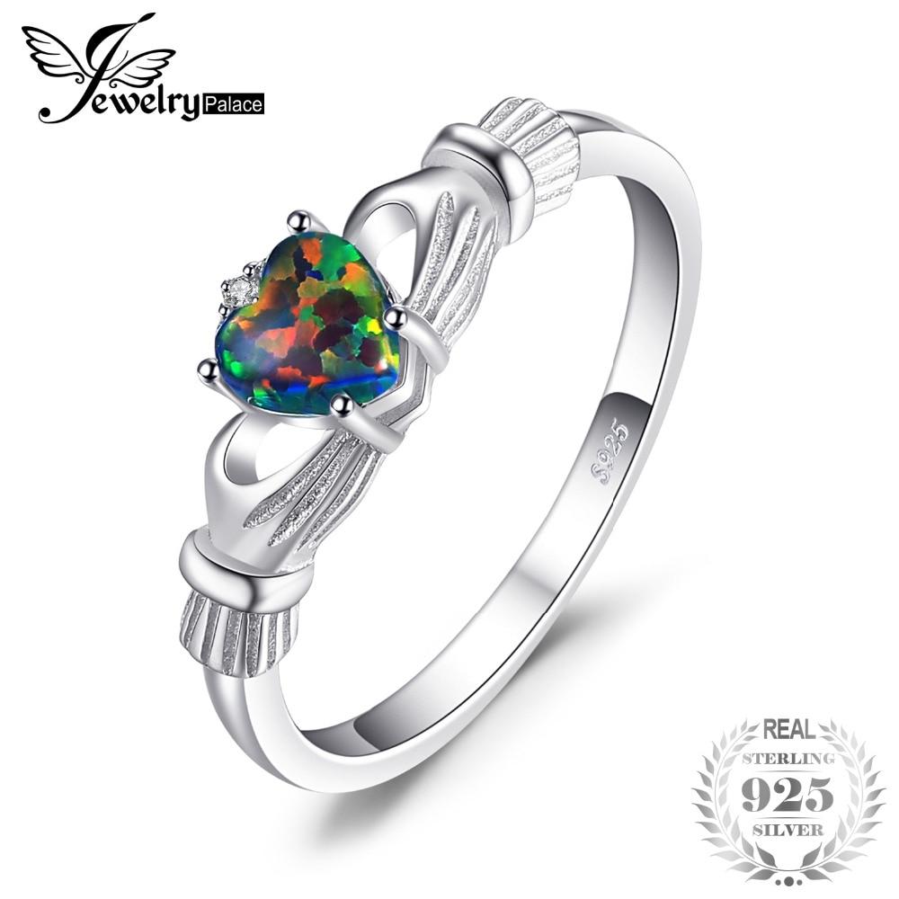 JewelryPalace ópalo de Fuego Negro Multicolor irlandés Claddagh anillo sólido 925 anillos de plata esterlina amor corazón Arco Iris joyas de piedras preciosas