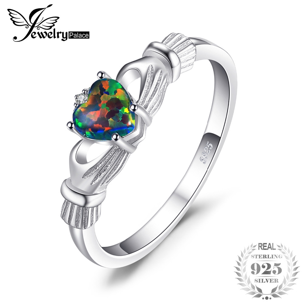 b9fde6d03acf JewelryPalace ópalo de Fuego Negro Multicolor irlandés Claddagh anillo  sólido 925 anillos de plata esterlina amor corazón Arco Iris joyas de  piedras ...