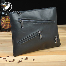 ETONWEAG New 2016 men famous brands punk vintage day clutch bags cow leather brown zipper crucifix rivet daily wallets