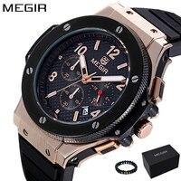 MEGIR Для мужчин s часы лучший бренд роскошные золотые часы кварцевые Для мужчин Повседневное модные часы Для мужчин спортивные наручные часы