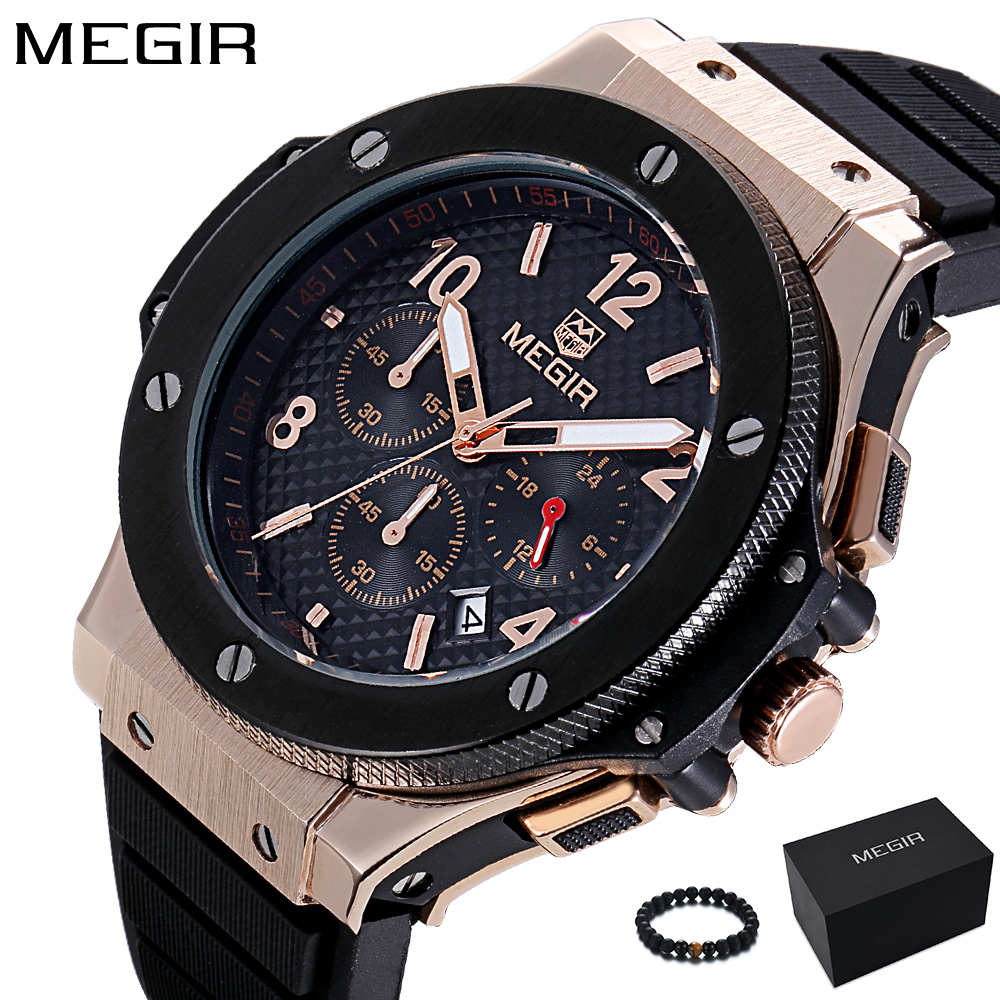 MEGIR Mens Watches Top Brand Luxury Quartz Gold Watch Men Casual Fashion Watches men Sport Wristwatch Clock Relogio Masculino nakzen men watches top brand luxury clock male stainless steel casual quartz watch mens sports wristwatch relogio masculino