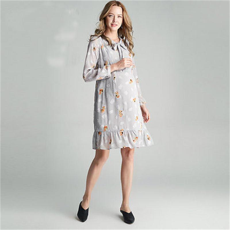Autumn maternity dress chiffon breastfeeding dress embroidery jacquard bow lotus leaf swing pregnant women dress