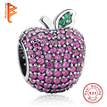 NEW Stunning 925 Sterling Silver Red Pave Apple Fancy Red CZ & Green Crystal Charm Fit Pan Bracelet Bangle DIY Jewelry Making