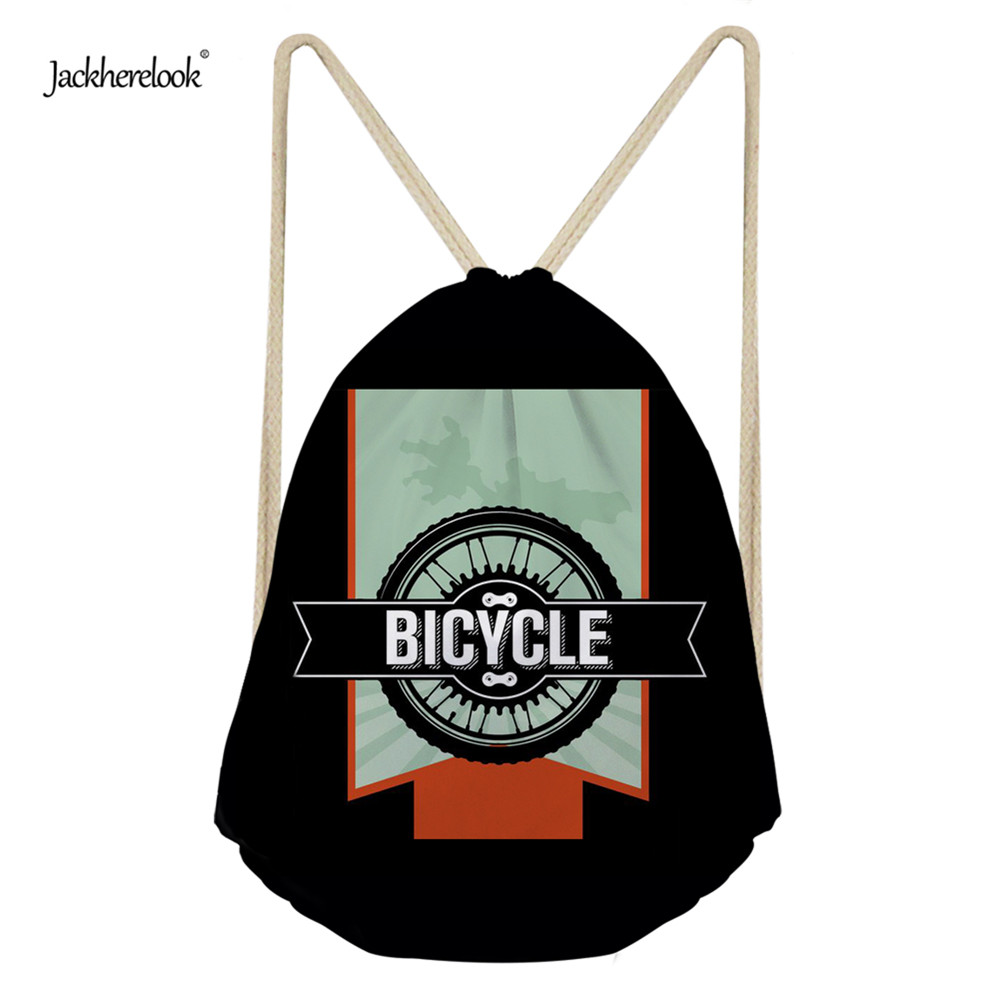 Jackherelook Men's Bicycle 3D Print Drawstring Bag Children Backpacks For Teenager Boys Small Storage Bag Daily Backpack Mochila