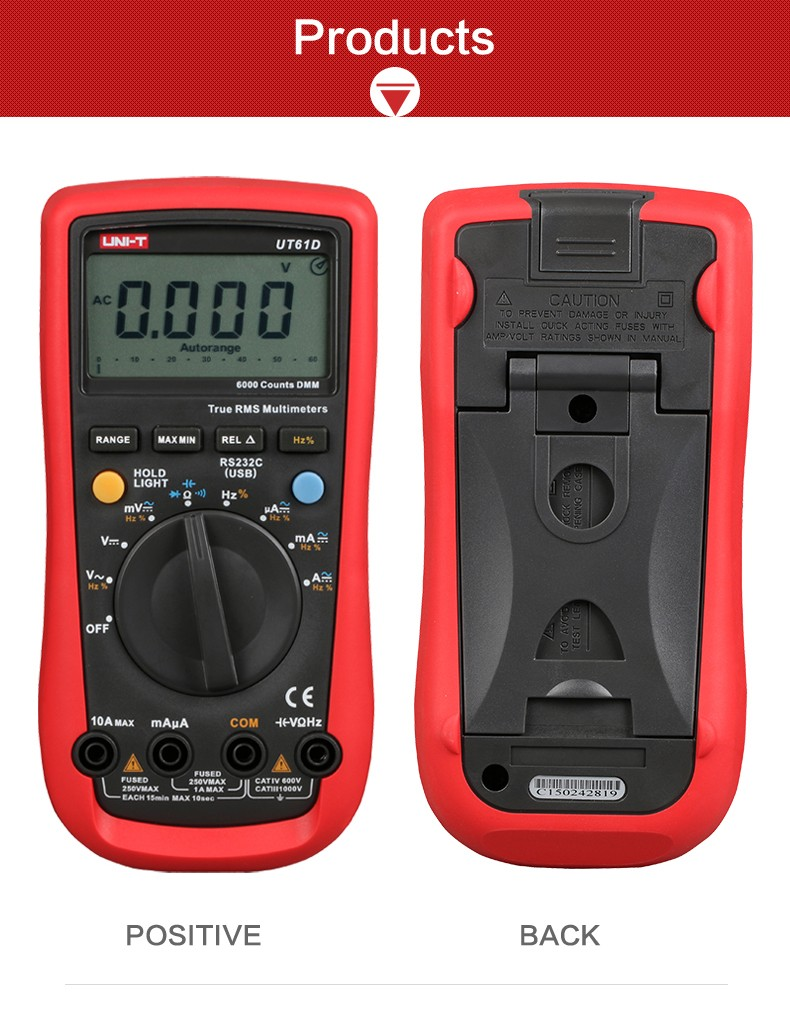 UNI-T UT61D Digital Multimeters True RMS 0.5s Fast Test AC DC Auto Range 1000V/10A Best Accuracy 0.01mA PC Soft Data Calculate uni t ut30c original authentic data handed hold digital multimeters temperature test