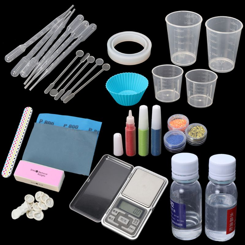 DIY Epoxy Resin Molds Necessary Jewelry Making Tool Kit With Scale Resin AB Glue diy epoxy resin molds necessary jewelry making tool kit with scale resin ab glue free shipping