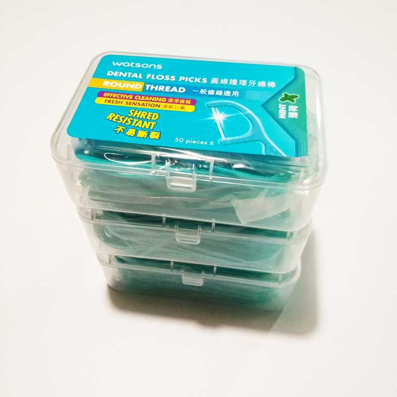 Watsons <font><b>150</b></font> pcs / <font><b>3</b></font> box High Quality Mint Flavour Dental Floss Pick Flosser GOOD image