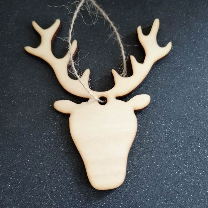 50pcs Blank Unfinished Wood Deer Head Reindeer Christmas Decorations Laser Cut Christmas Tree Hanging Ornaments Gift Tags