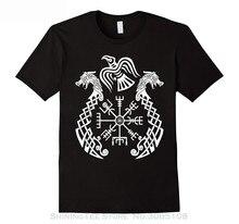 цена на Streetwear Funny Print Clothing Hip-tope Mans T-shirt Tops Tees Viking Valhalla Vegvisir Drakkar T-shirt