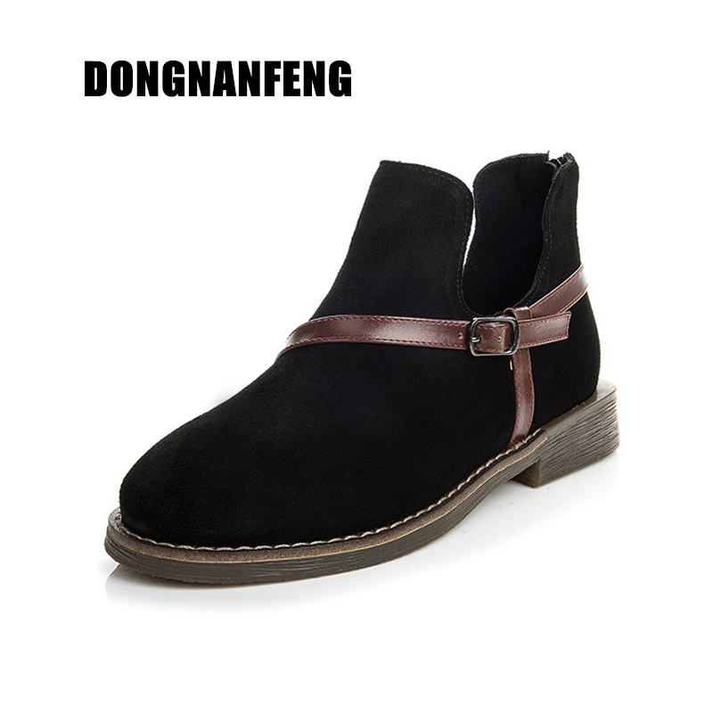 DONGNANFENG Women Shoes Mother Retro Ladies Female Boots Cow Suede Genuine Leather Pigskin Martin TPR Slip On Size 35-40 ML-1801 martin logan ml 66i in wall