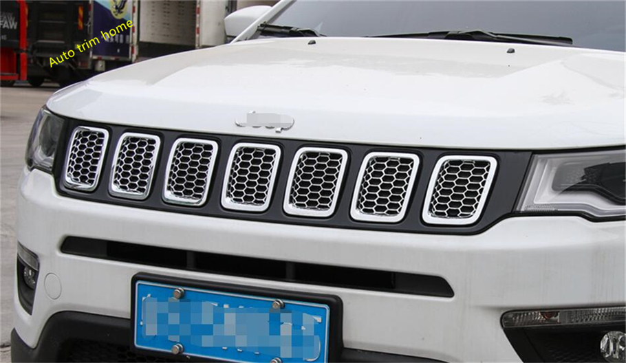 Bright Style For Jeep Compass 2017 2018 ABS Front Head Grille Grill Decoration Molding Cover Trim 7 Pcs / Auto Accessories