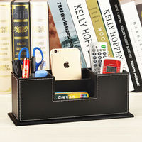 2 Layers Leather Pen Pencils Holder Remote Control Case Box Business Card Stand Desk Organizer Set