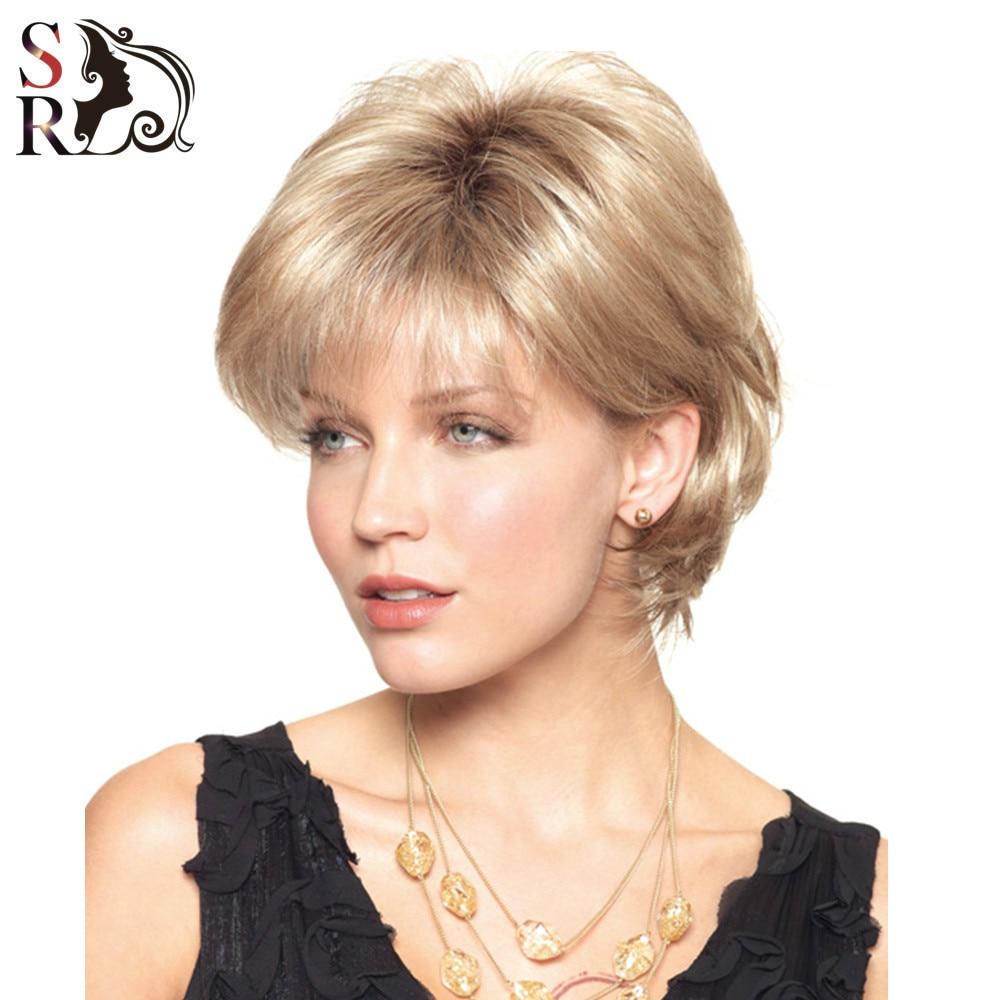 1PC Women Short African Wigs For White European Golden Synthetic Wavy Kanekalon Heat Resistant Fiber Natural U Part Wig