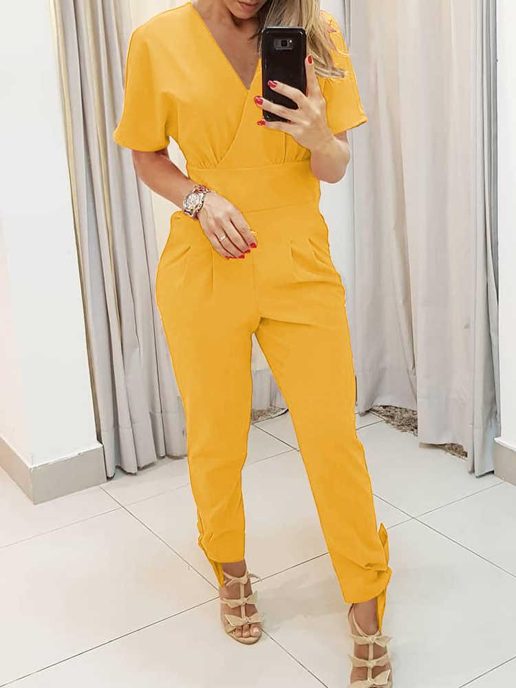 2019 летняя Новая Элегантная однотонная рабочая одежда, 3 цвета, повседневный комбинезон, женский комбинезон для отдыха, комбинезон с v-образным вырезом и короткими рукавами