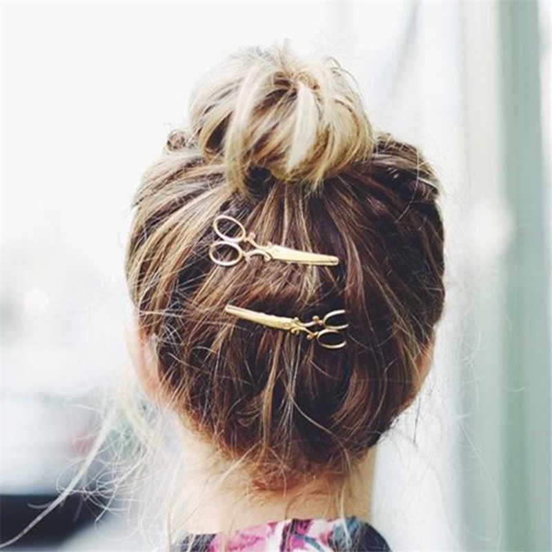 Hot 2 Pcs Golden/Silvery Hair Pin ผู้หญิง Hot Chic แฟชั่นกรรไกรรูปทรงผมคลิปเครื่องประดับผม