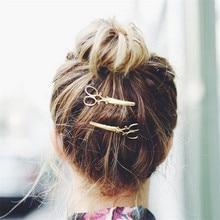 Hot 2 Pcs Golden/Silvery Hair Pin Women Chic Fashion Scissors Shape Clip Jewellery