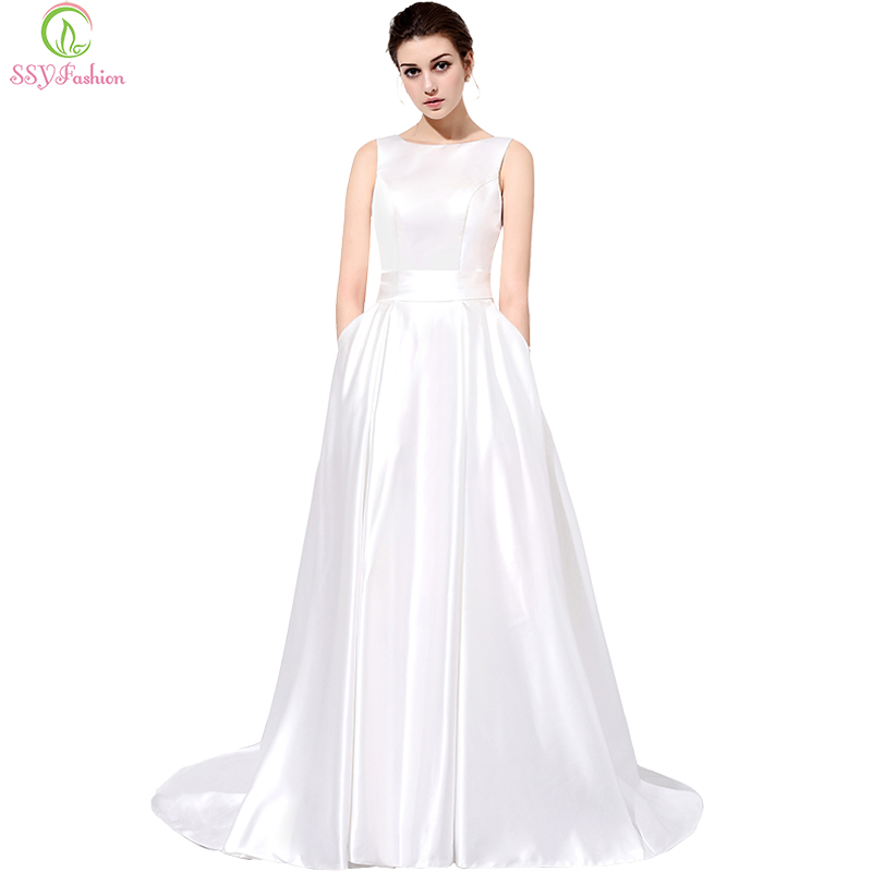Simple And Elegant Wedding Dresses Boat Neck Three Quarter: SSYFashion The Bride Banquet Elegant Long Evening Dress