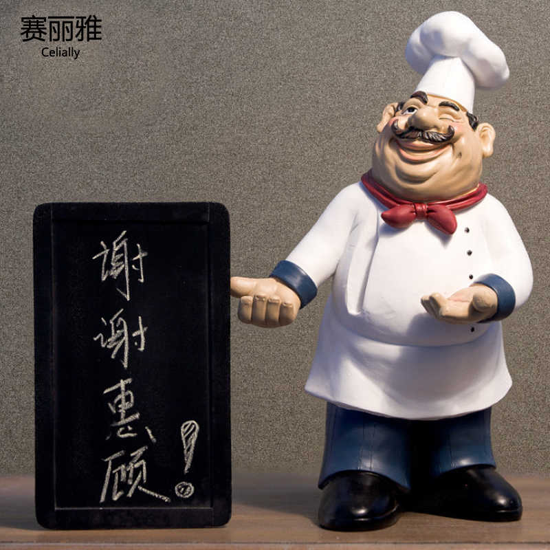 Height 40cm Resin Kitchen Chef Figurine Cake Bakery Chef Miniature