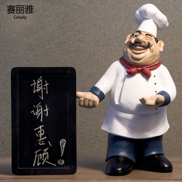 Height 40cm Resin Kitchen Chef Figurine Cake Bakery Chef Miniature Message  Board Cook Statue Home Kitchen