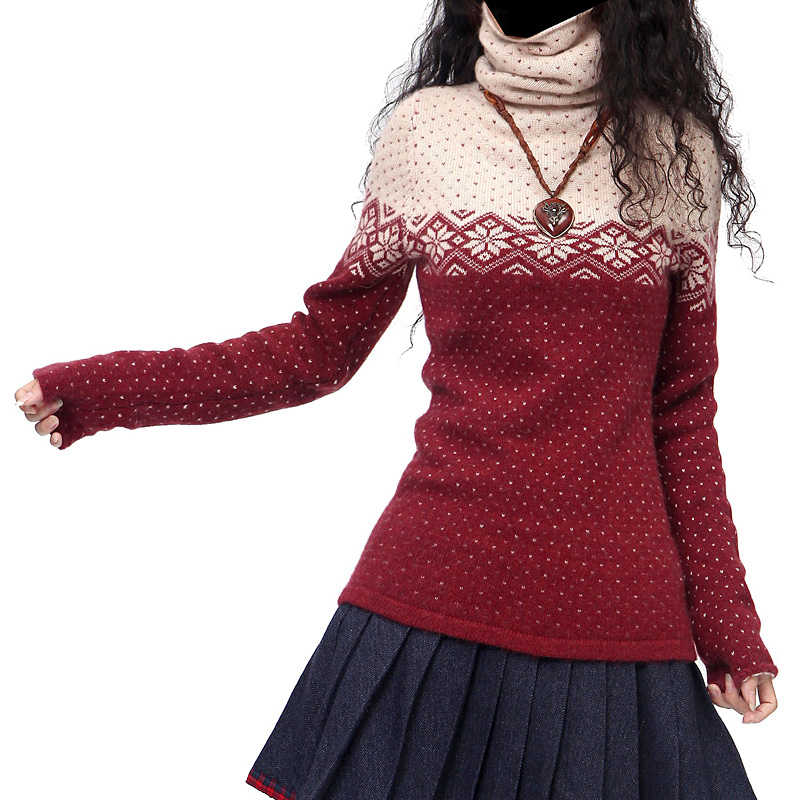 Suéteres y jerseys Vintage largos de Cachemira para mujer de moda Artkas ropa femenina otoño invierno cálido copo de nieve cuello alto