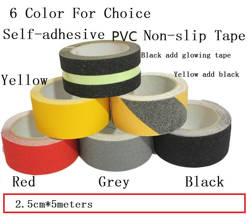 2.5cm*5M Stairs Floor Bathroom Grind Arenaceous Non-slip PVC Warning Safety Self-adhesive Rough Tape Antiskid Stick 6 Color 5cm 5m frosted surface anti slip tape abrasive for stairs tread step safety tape non skid safety tapes