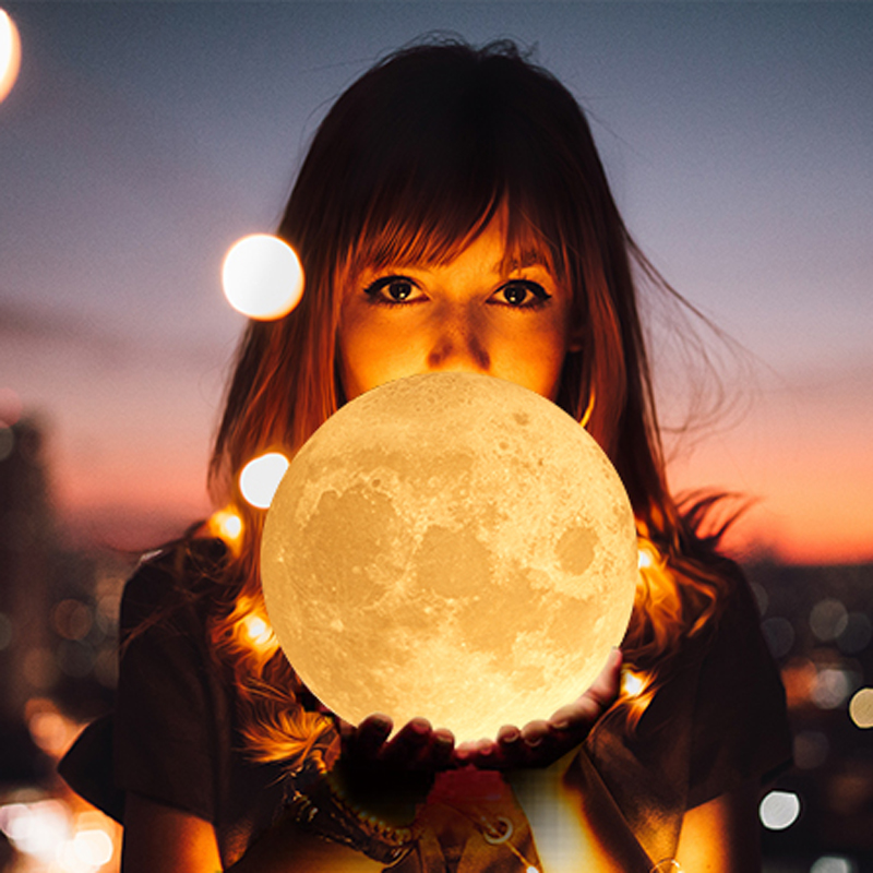 USB Powered 3D Print Moon LED Night Light Touch Switch 10 Levels Dimmable Luminaria Lamp Table Bedroom Decor White/Warm WhiteUSB Powered 3D Print Moon LED Night Light Touch Switch 10 Levels Dimmable Luminaria Lamp Table Bedroom Decor White/Warm White