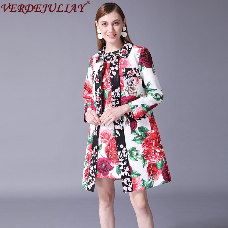 High Street Ladies Fashion   Trench   2019 Summer Rose Print Patchwork Turn down Collar Single Breasted Hot Sale Long Slim Coat