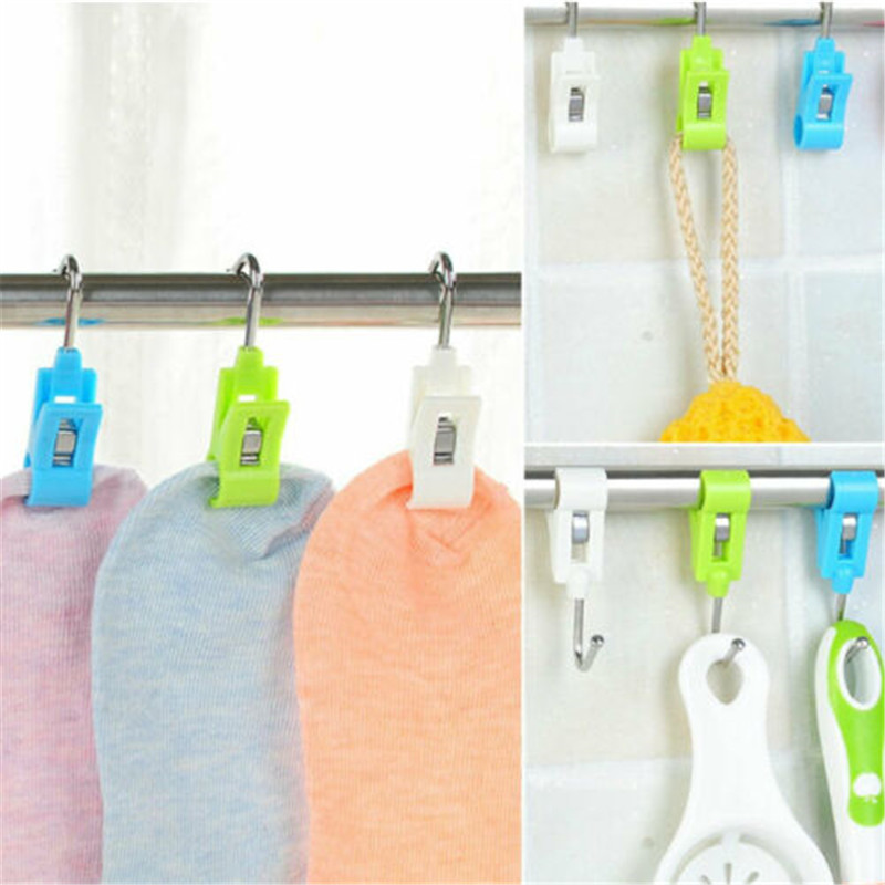 4Pcs Portable Laundry Hook Hanging Clothes Pins Underwear Boot Hanger Hold Clip