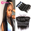 Brazilian Virgin Hair with Lace Frontal 8A Virgin Straight Hair 4 Bundles and Frontal Closure with Baby Hair New Star Style Hair