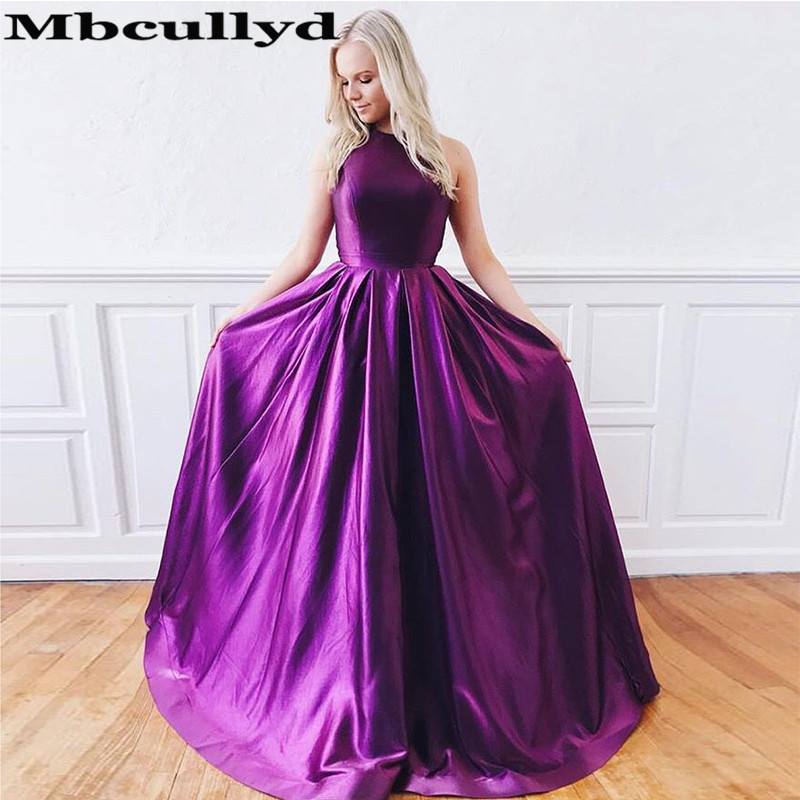 Mbcullyd Chic Purple Satin   Prom     Dresses   For Women 2019 A-line Cross Backless Long Evening   Dress   Party Gown Cheap robe de soiree
